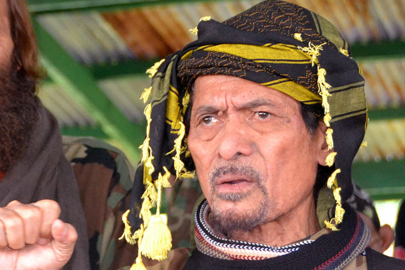 Moro National Liberation Front Chairperson Nur Misuari appears in this Sept. 18, 2016 photo after a Norwegian hostage was turned over by ransom-seeking Abu Sayyaf extremists in Indanan township on Jolo island. AP/Nickee Butlangan