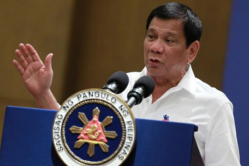 In this Nov. 9, 2016 file photo, President Rodrigo Duterte addresses the Filipino community in Malaysia at the Grand Ballroom of Mandarin Oriental Hotel in Kuala Lumpur. PPD