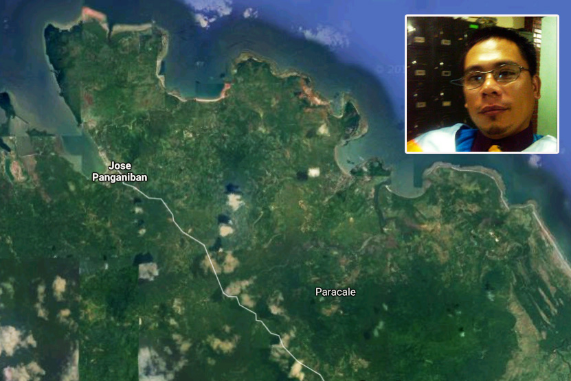 Satellite rendering from Google Earth shows Jose Panganiban in Camarines Norte while photo inset shows Gene AvellanaJr., a teacher who died in an effort to save a student. Google Earth, Bicol Standard