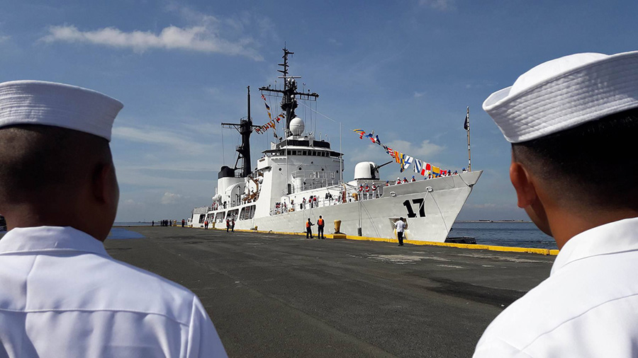 Philippine Navy's newly-acquired BRP Andres Bonifacio (FF17) arrives in Manila on Friday, Dec. 9, 2016. The ship, a former United States Coast Guard High Endurance Cutter, is expected to provide increased maritime presence throughout the Philippines' territorial waters and its exclusive economic zone. Philippine Navy photo