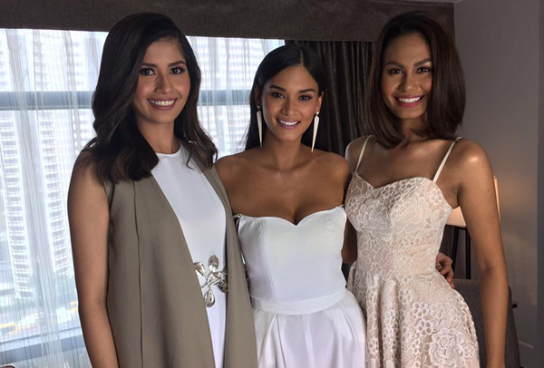 Reigning Miss Universe Pia Wurtzbach (center) is joined by former pageant contestants from the Philippines Shamcey Supsup and Venus Raj in a photo on Friday, Dec. 9, 2016. Miss Universe/Released