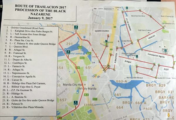 The Metropolitan Manila Development Authority posted a map of the Traslacion's route on Facebook Tuesday.