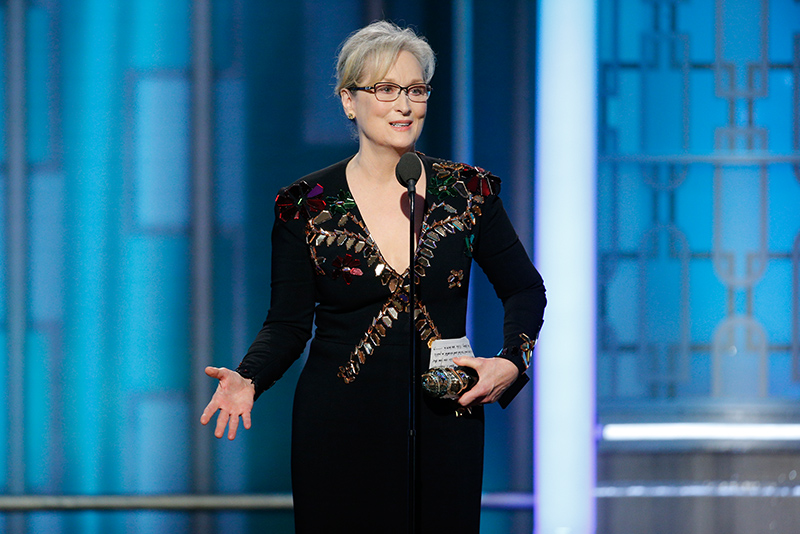 This image released by NBC shows Meryl Streep accepting the Cecil B. DeMille Award at the 74th Annual Golden Globe Awards at the Beverly Hilton Hotel in Beverly Hills, Calif., on Sunday, Jan. 8, 2017. Paul Drinkwater/NBC via AP
