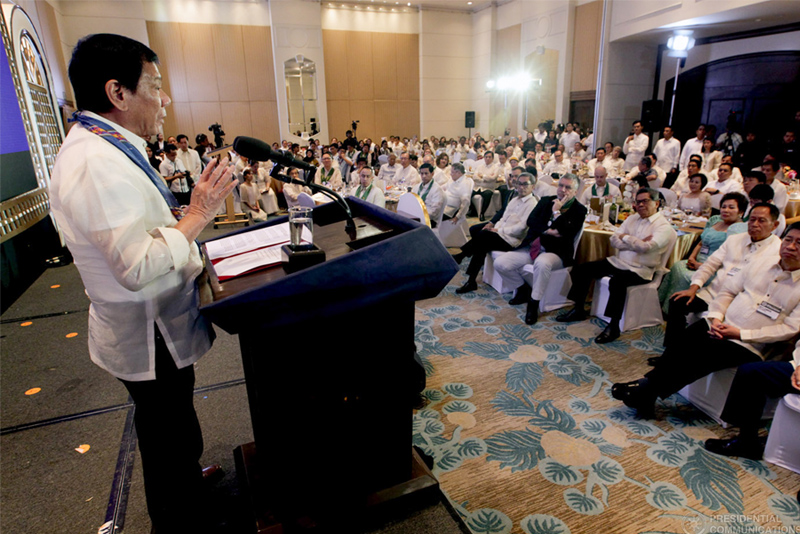 In this Jan. 14, 2017 photo, President Rodrigo Duterte explains his hatred for illegal drugs in his speech during the the 49th Annual Installation of Officers and Board of Trustees of the Davao City Chamber of Commerce and Industry Inc. at Marco Polo Hotel in Davao City. PPD/Simeon Celi Jr.
