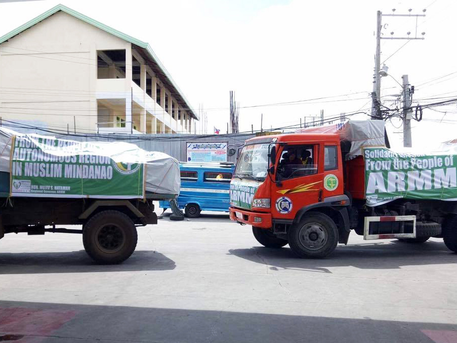 The trucks carrying the relief supplies from the capitol of the Autonomous Region in Muslim Mindanao are expected to arrive in Surigao City late Tuesday. Philstar.com/John Unson