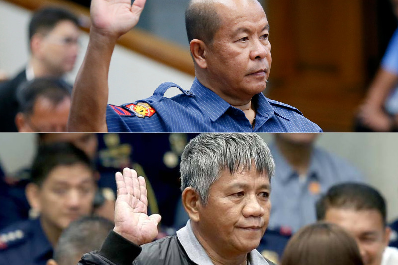 File photos from the Associated Press show SPO3 Arthur Lascañas and confessed hried gun Edgar Matobato taking an oath before the Senate justice panel in October 2016. AP/File photos