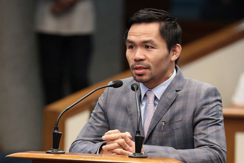 Sen. Manny Pacquiao expresses a motion to declare the position of Senate president pro-tempore, held by Sen. Franklin Drilon, vacant during a session on Monday, Feb. 27, 2017 in a major reshuffling at the Philippine Senate. Pacquiao Office/Released