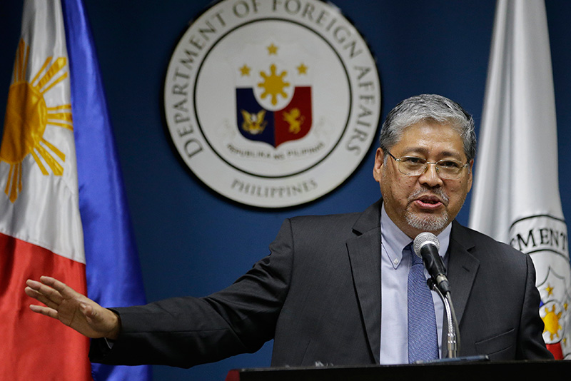 Foreign Affairs Secretary Enrique Manalo said Tuesday that China and southeast Asian nations had made progress in talks on a code of conduct for the disputed South China Sea although the issue on whether it would be legally binding was still pending. Image: AP/Aaron Favila
