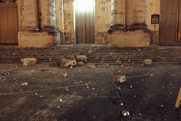 Photo from Taal Mayor Pong Mercado Debris fell off from Taal Church after a magnitude 5.5 quake had jolted Batangas on the night of April 4, 2017. The STAR