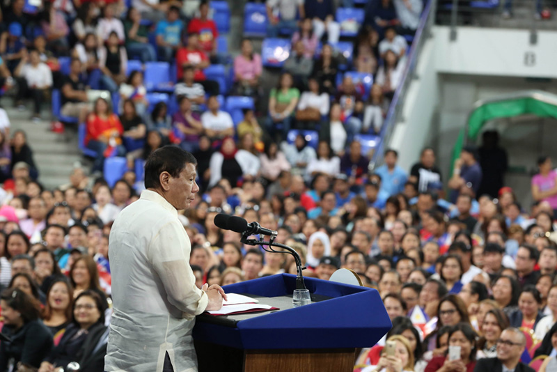 President Rodrigo Duterte expresses concern over problems encountered by Filipinos abroad in his speech during the meeting with the Filipino community at the Khalifa Sports City in Bahrain on April 14, 2017. PPD/King Rodriguez