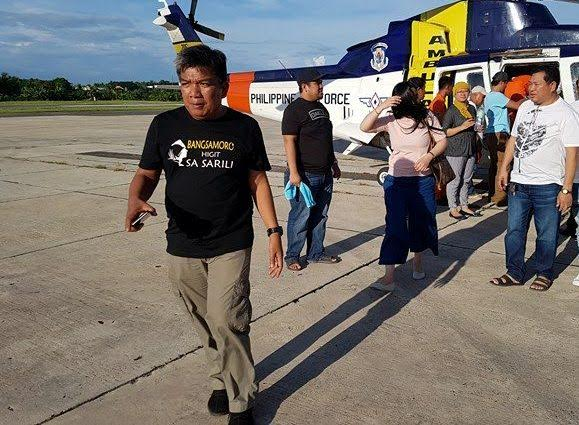 Grenade victim Datu Ali Midtimbang, leader of the ruling clan in Talayan town in Maguindanao, was airlifted to Davao City by this Air Force helicopter. Philstar.com/John Unson