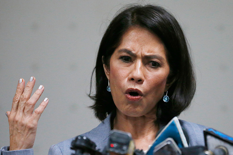 Environment Secretary Gina Lopez gestures during a news conference following the rejection of her appointment as a cabinet member by the Commission on Appointments based on the recommendation of its committee on environment and natural resources, headed by Sen. Manny Pacquiao Wednesday, May 3, 2017, in Pasay City, Philippines. AP/Bullit Marquez