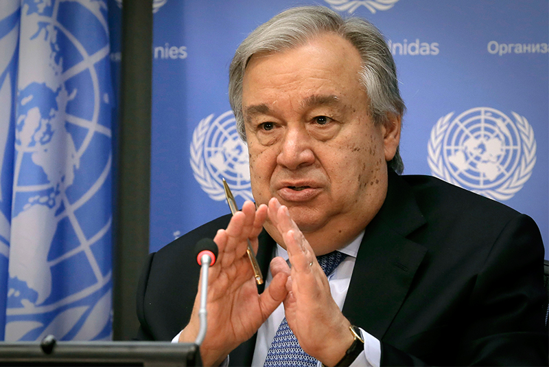 United Nations Secretary-General António Guterres speaks during his first press conference with U.N. correspondents, on World Refugee Day, Tuesday June 20, 2017, at U.N. headquarters. AP/Bebeto Matthews