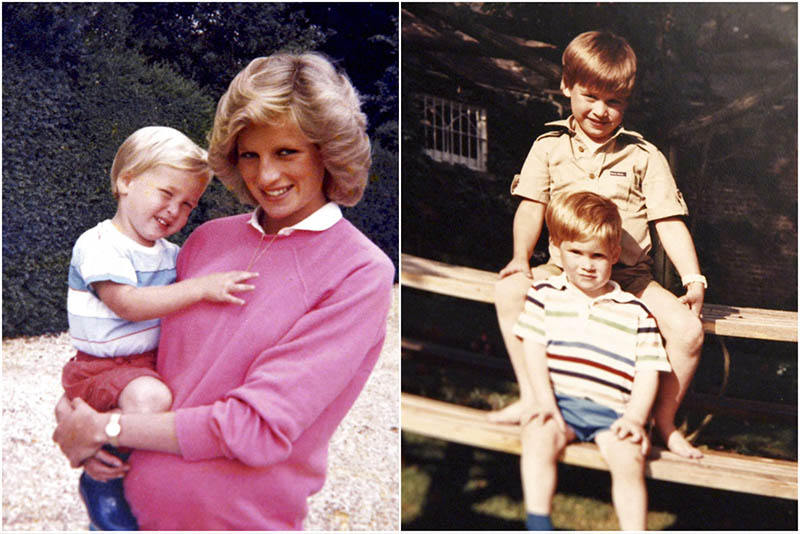 Photos made available by Kensington Palace from the personal photo album of the late Diana, Princess of Wales, show the princess holding Prince William whilst pregnant with Prince Harry (left), and William and Harry sitting on a picnic bench. The Duke of Cambridge and Prince Harry/Kensington Palace via AP
