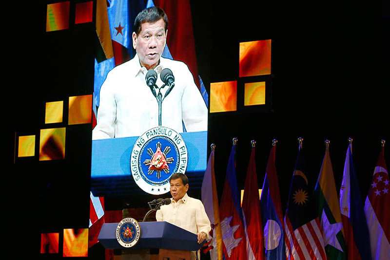 President Rodrigo Duterte addresses delegates at the closing ceremony of the 50th ASEAN Foreign Ministers Meeting and its 50th Grand Celebration, Tuesday Aug. 8, 2017, at the Philippine International Convention Center in Manila, Philippines.AP/Bullit Marquez