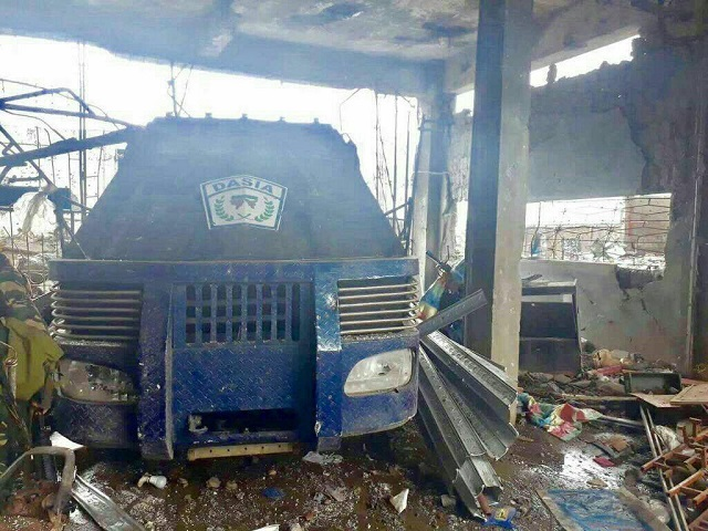 Troops of the Western Mindanao Command recovered this blue armored car from a building that the Maute group used for storage and as a temporary base. AFP Wesmincom