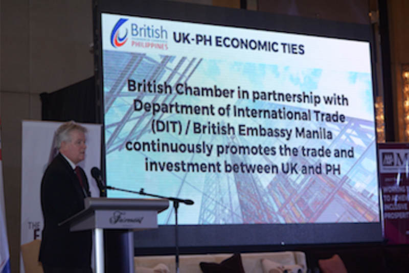 British Chamber of Commerce Philippines president Chris Nelson delivering his opening remarks at the Dutertenomics Forum on Aug. 10, 2017 at Fairmont Makati.