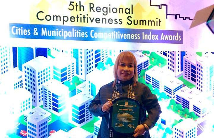 Mayor Cynthia Guiani-Sayadi received on Wednesday the plaque citing Cotabato City as one of the country's most competitive cities based on a nationwide search by the National Competitiveness Council. Cotabato City Information Office