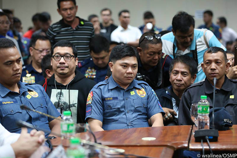 The four policemen tagged in thekilling of Grade 11 student Kian Loyd delos Santos during an anti-narcotics operation in Caloocan City last Aug. 16 have denied criminal charges against them before the Department of Justice. OSMP/Wendell Alinea, File