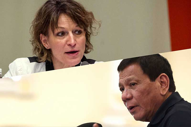 Agnes Callamard, the United Nations' special rapporteur on extrajudicial killings, expressed her condolences over the killing of 17-year-old Filipino student Kian delos Santos and urged the government to stop the killings. Her statement angered President Duterte. UN/PPD photos
