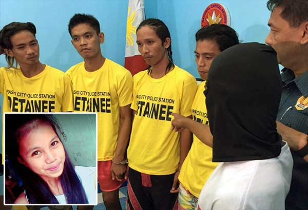 A witness identifies (from left) John Jerico Peralta and brothers Jomari, Emmanuel Jr. and Joel Manuel as suspects in the rape and killing of Grace Omadlao (inset) during a press conference yesterday as Pasig police chief Senior Superintendent Orlando Yebra Jr. looks on. NON ALQUITRAN