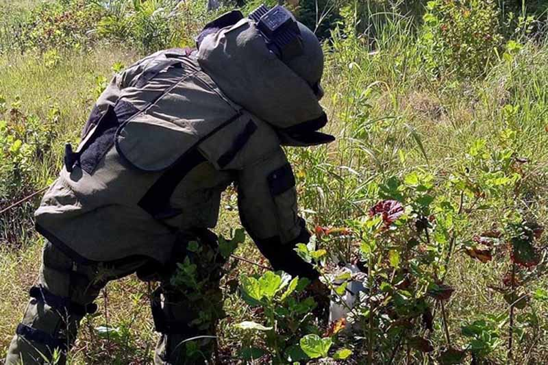 A soldier in a protective suit dismantles an improvised explosive device left by fleeing bandits in an open field in Datu Anggal, Maguindanao. John Unson