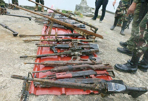 Some of the firearms recovered from Lake Lanao are shown in this photo courtesy of the Joint Task Force Ranao.