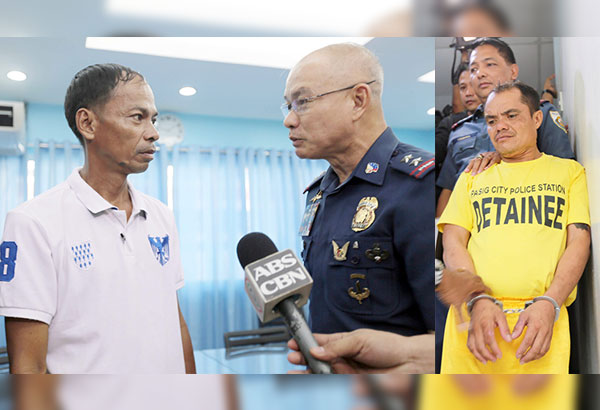National Capital Region Police Office chief Director Oscar Albayalde talks to Reynaldo Cama during a press conference at the Eastern Police District headquarters yesterday. At right, police officers escort suspect Randy Oavenada to the press conference. Boy Santos
