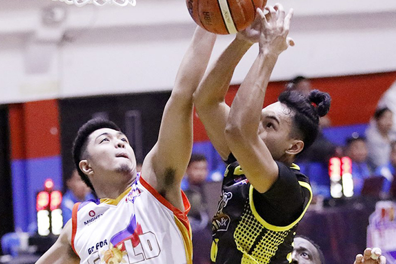 Go for Gold's Jjay Alejandro (left) and Cris Bitoon of Gamboa Coffee Mix dispute possession in a rebound play during their PBA D-League Aspirants' Cup clash at the Pasig City Sports Center.