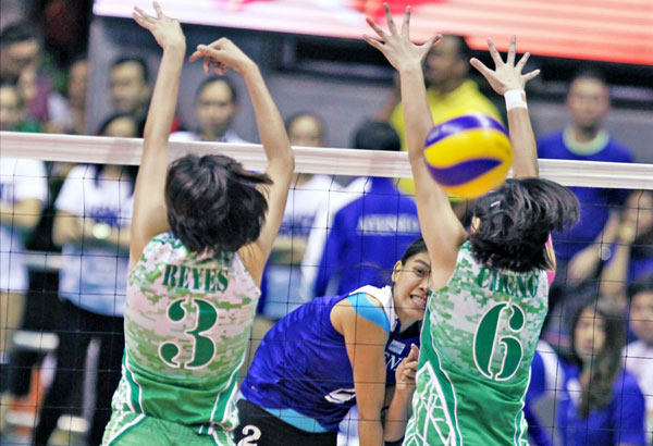 PLDT HOME Ultera Family Barkada members and brand ambassadors Alyssa Valdez of the Ateneo Lady Eagles, Mika Reyes of the DLSU Lady Spikers are among the crowd-drawers in the highly ancitipated UAAP Volleyball Championship. File Photo