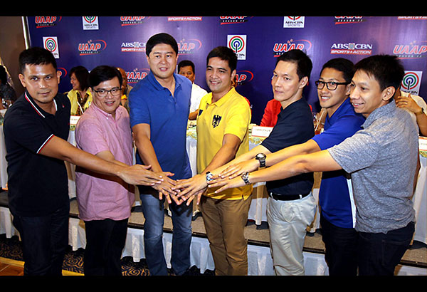 Coaches join hands during the launch of UAAP Season 77 at Gloria Maris at Gateway, Araneta Center yesterday. They are (from left) La Salle's Juno Sauler, Derrick Pumaren of UE, Adamson's Kenneth Duremdes, Bong dela Cruz of UST, Eric Altamirano of NU, Uri Escueta, who represented of Bo Perasol of Ateneo and Nash Racela of FEU. Not in photo is UP's Rey Madrid. Story on Col. 1  JOEY MENDOZA