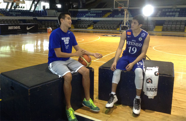 Wesley Gonzales and Von Pessumal sat next to one another and talked about the differences and similarities from their respective teams during one scene for the annual Gatorade Brand Ambassadors shoot at Blue Eagle Gym last Thursday.