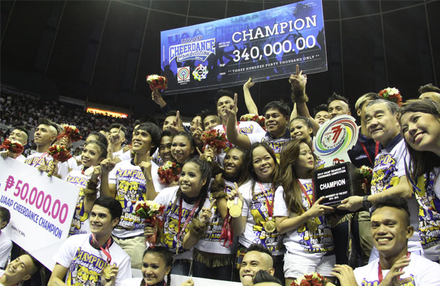 The National University Pep Squad pose after ruling the UAAP Cheerdance Competition for the second straight year at the Araneta Coliseum on Sunday. Emjae Villarey