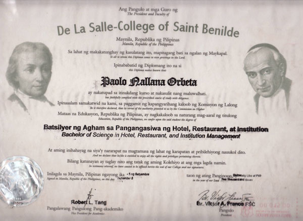 paolo orbeta s long and lonely road to redemption unblogged  copy of orbeta s diploma from st benilde where he graduated a bachelor of science degree in hotel restaurant and institution management
