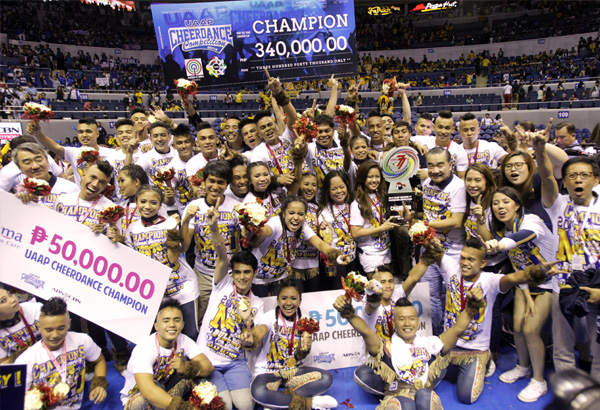 Members of the NU Pep Squad, champion in the UAAP cheerdance competition and third in the group stunts category. JUN MENDOZA