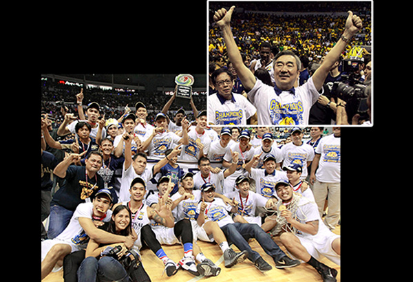 VICTORY AT LAST: Members and supporters of the triumphant National U Bulldogs, led by team owner Hans Sy (inset), savor the sweet taste of victory after ending a 60-year chase for the UAAP championship. JUN MENDOZA