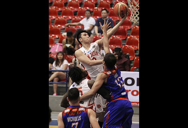 San Beda's forward Art dela Cruz carries the load as big man Ola Adeogun and playmaker Baser Amer miss the opener with separate injuries. File Photo