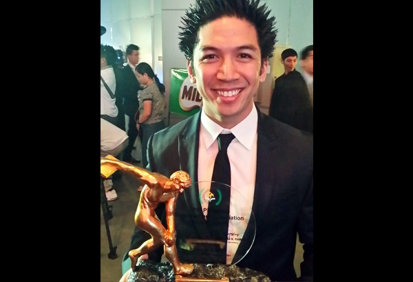 Daniel Caluag with his Athlete of the Year trophy at the recent PSA Awards Night.