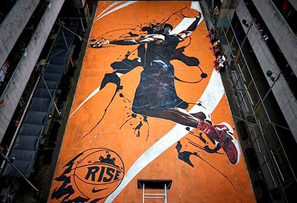 Lebron awed by court mural sports news the philippine for Basketball court mural