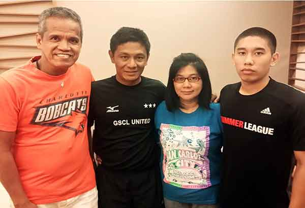 PBA veteran Epoy Jalmasco (left) with pro hopeful Myles Anicete (right) and parents Benjie and Princess Anicete.