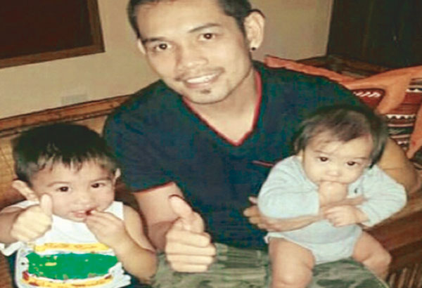 Superbantamweight champion Nonito Donaire Jr. with sons Jarel, 2, and eight-month-old Logan.