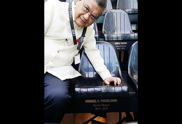SBP executive director Sonny Barrios locates FIBA Central Board member Manny V. Pangilinan's designated chair at the House of Basketball in Mies, Switzerland.