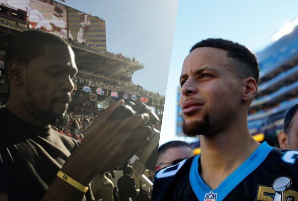 Kevin Durant working as a photographer for an athletes' website; Stephen Curry continuing his Panthers tradition. Players' Tribune/Golden State Warriors photos