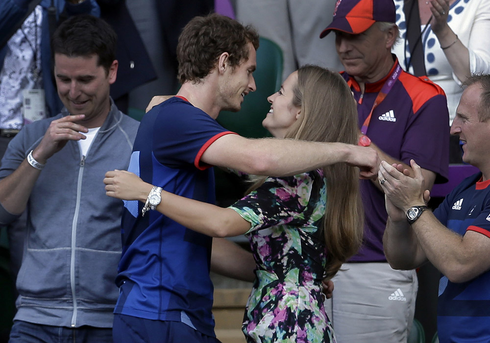 In this file photo, tennis ace Andy Murray, center left, hugs then girlfriend and now wife Kim Sears, after defeating Switzerland's Roger Federer to win the men's singles 2012 Summer Olympics gold medal match. Andy Murray has become a father for the first time after his wife, Kim Sears, gave birth to a girl. Murray's management company said Sears gave birth on Sunday (Monday in Manila), a week after the 28-year-old Scot lost the Australian Open final. | AP Photo/Victor R. Caivano