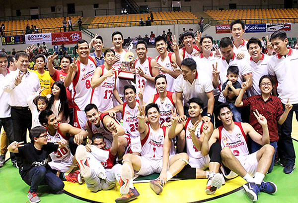 Team members, officials and supporters whoop it up following the Accelerators' victory over the Tanduay Rhum Masters to claim the PBA Developmental League's Foundation Cup crown.