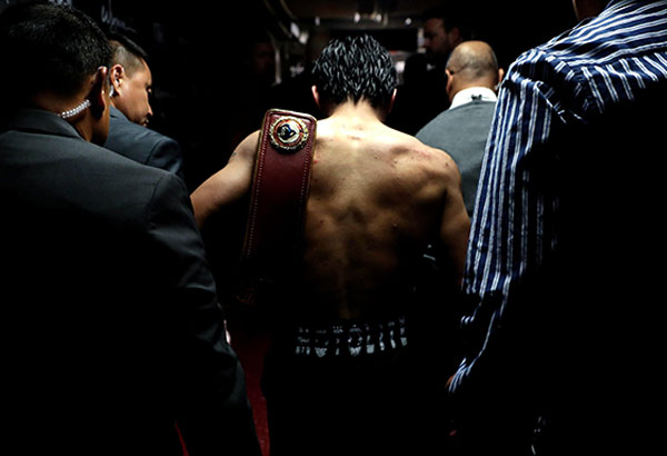 Manny Pacquiao exits the arena after his unanimous-decision victory over Jessie Vargas at the Thomas & Mack Center in Las Vegas, Nevada. AP