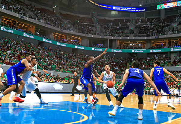 BEST OF UAAP SEASON 79: Archrivals the La Salle Archers and the Ateneo Eagles, the top two teams in the elimination, clash in the championship showdown before an expected thousands of fans donned in school colors – La Salle green and Ateneo blue (lower photo).JUN MENDOZA