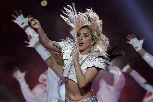 Singer Lady Gaga performs during the halftime show of the NFL Super Bowl 51 football game between the New England Patriots and the Atlanta Falcons, Sunday, Feb. 5, 2017, in Houston. | AP Photo/Matt Slocum