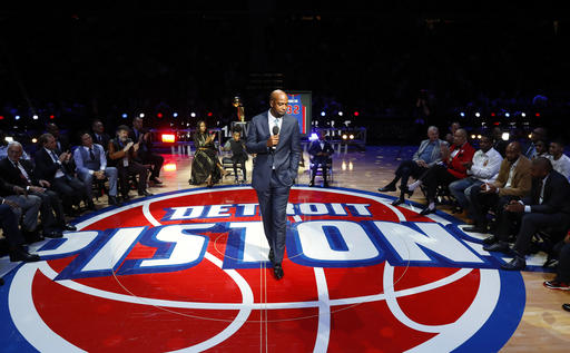 Former Detroit Pistons player Richard Hamilton speaks during a ceremony to retire his number during halftime at an NBA basketball game against the Boston Celtics in Auburn Hills, Mich., Sunday, Feb. 26, 2017. | AP Photo/Paul Sancya