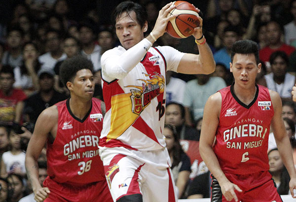 6bbb86dca8 Ginebra's Joe Devance is not a bit intimidated by the huge advantage of San  Miguel's June Mar Fajardo in Game 2 Sunday at the Quezon Convention Center  in ...
